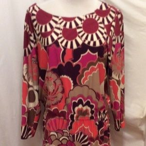 Ali Ro Dress 12 Cream Magenta Floral Print